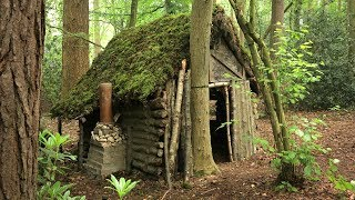 Primitive Log Cabin in the Woods - Moss Roof (Overnight Camp)