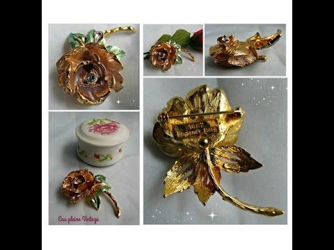 GRAZIANO Rhinestone Enamel Flower ENGLAND'S ROSE Pin Brooch