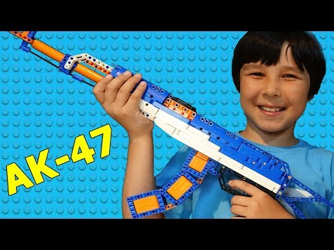 I BUILT LEGO like Toy AK 47 Working Replica Gun in NERF colors | Lucas World Toys Unboxing & Review