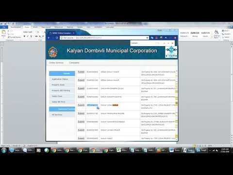 HOW TO PRINT PROPERTY TAX BILL - ONLINE ( KALYAN- DOMBIVALI) - [NO AUDIO]