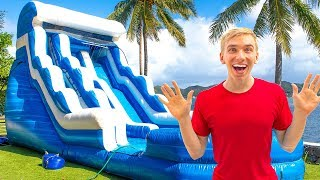 GIANT BACKYARD INFLATABLE NINJA TRAINING OBSTACLE COURSE!! (Game Master Treasure Chest Clues Found)