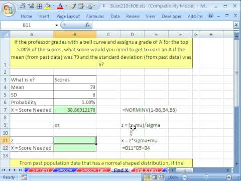 Excel Statistics 72: Find X Given Normal Probabilities NORMINV & NORMSINV functions
