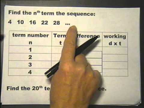Finding the nth term of a sequence. Lesson 17 part 4. Foundation Maths.