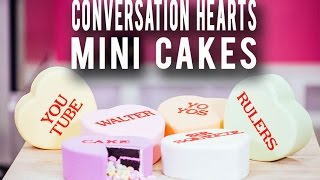 How To Make CONVERSATION HEART CAKES! Candy-Coloured Chocolate Cakes with a  Sweet Surprise Inside!