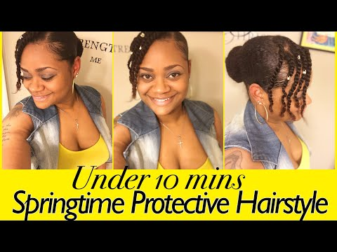 Springtime Cute Protective Hairstyle | Under 10 mins Hairstyle