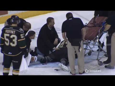 Anthony Stolarz Scary Injury Cut by a Skate (1/17/14)