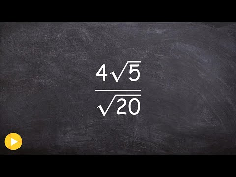 Algebra 1 - Learn how to divide radicals, 4root(5)/root(20)