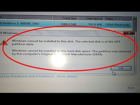 Fix Windows cannot be installed to this disk.The selected disk is of the GPT partition style windows