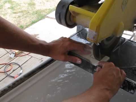 How to cut a tile for an outlet using a tile saw