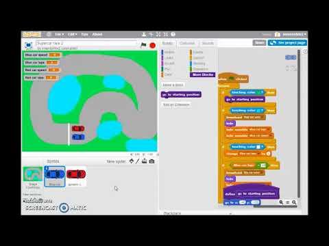 Car race game in Scratch part 2