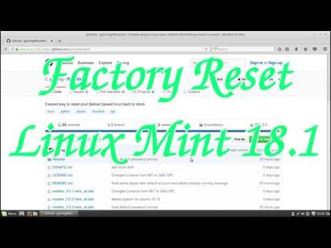 Factory Reset Linux Mint 18.1