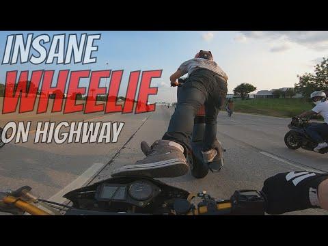 INSANE Motorcycle WHEELIE On Highway Street Bike STUNTS Video 2018 MOM Ride