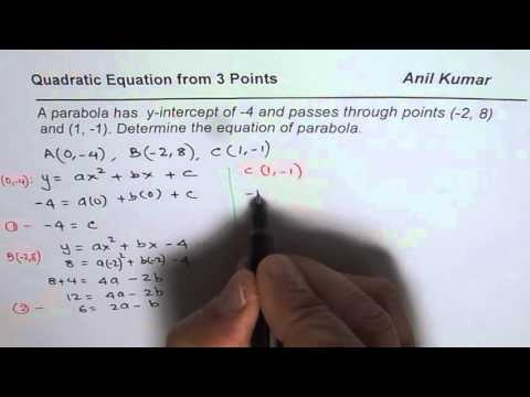 Write Quadratic Equation from Three Points