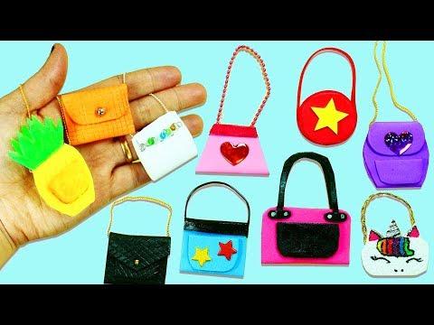 MINIATURE CRAFTS: 10 DIY Barbie Doll Miniature Purse, Handbag, Bag -10 Different Styles #3