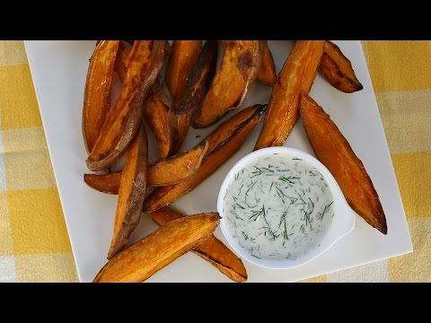 Roasted Sweet Potato Wedges with Buttermilk Dip- Everyday Food with Sarah Carey
