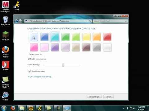 How to change windows 7 taskbar color