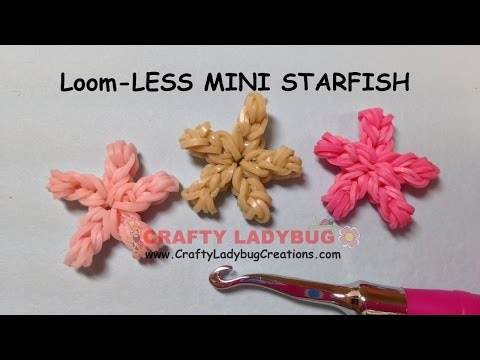 Rainbow Loom-LESS MINI STARFISH EASY Charm Tutorials by Crafty Ladybug/How to MAKE