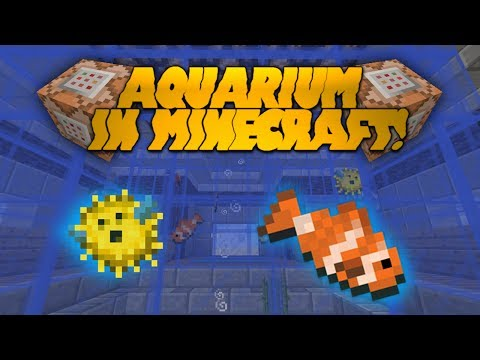 HOW TO BUILD AN AQUARIUM IN MINECRAFT! Real Moving Fish! Vanilla Minecraft 1.8 Redstone