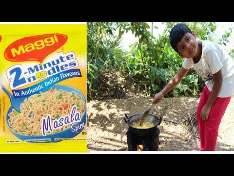 AMAZING..!!! 5 YEAR OLD KID-PREPARING MAGGI NOODLES - HEALTHY VILLAGE FOOD