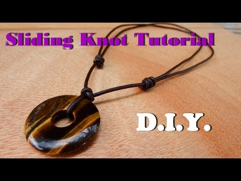 How to make a sliding knot necklace leather cord with donut tiger eye stone handmade