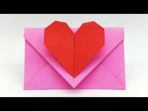 Heart Envelope making with Paper - Super Easy Origami Envelope Tutorial