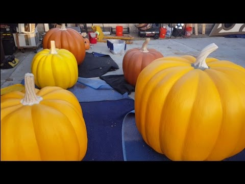 Painting The Giant Pumpkins - Halloween Props & Decor