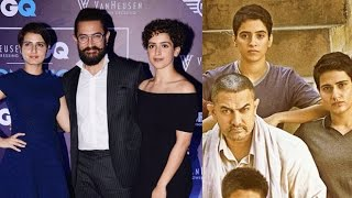 Aamir Khan With His CUTE Daughters/Actress In Dangal Movie at GQ Fashion Awards2016