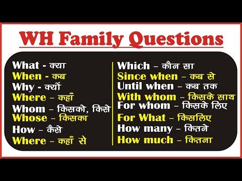 WH Family Question Words in English: WH Questions in English   WH Questions Exercises in Hindi
