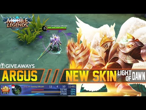 Argus New Skin Light of Dawn Gameplay and Build + Giveaways - Mobile Legends Patch 2.14