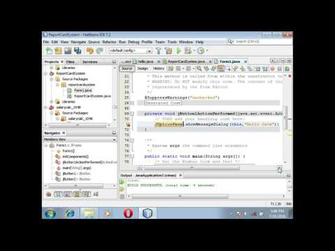 steps to display a Message in Java netbeans