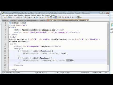 JQuery Tutorial 29 -  How to remove Attribute (removeAttr) with an example