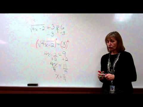 Solving a radical equation, example 1