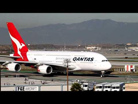 Qantas Airbus A380 (2X) Landing and Takeoff at LAX