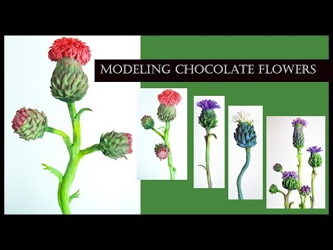 How to Make MODELING CHOCOLATE FLOWERS (Thistle)