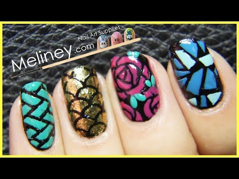 FALL COLORED NAIL VINYL NAIL ART DESIGN TUTORIAL FOR BEGINNERS EASY SIMPLE | MELINEY