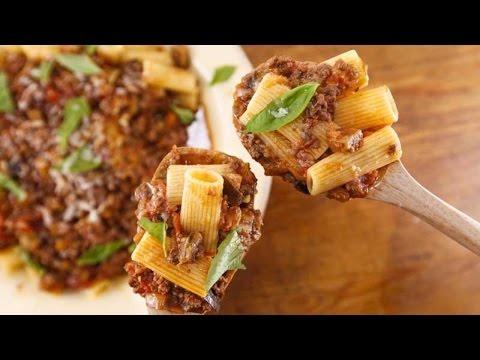 Beef and Eggplant Ragu with Rigatoni