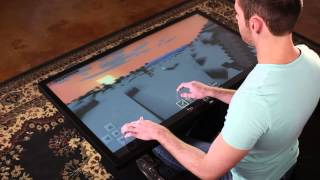 """Playing Minecraft on 46"""" Multitouch Coffee Table with Android 4.4 KitKat"""