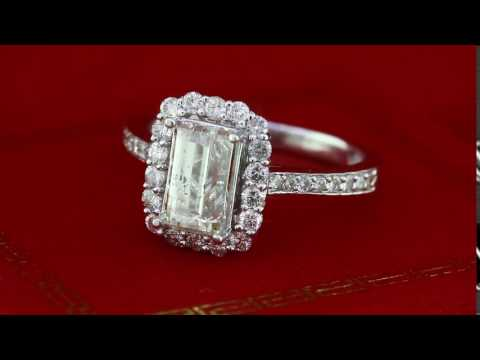 2.66Ct Vintage Style Halo Diamond Engagement Ring Emerald Cut in 14K White Gold