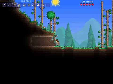 Lets play Terraria Episode 1 Building shelter