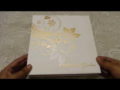 Ivory Boxed Wedding Invitation in Golden Floral Design