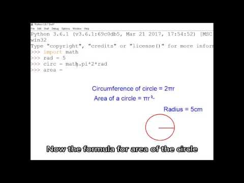 Python Import Math; Using Math.pi; calculate circle area &circumference, Using math.sqrt