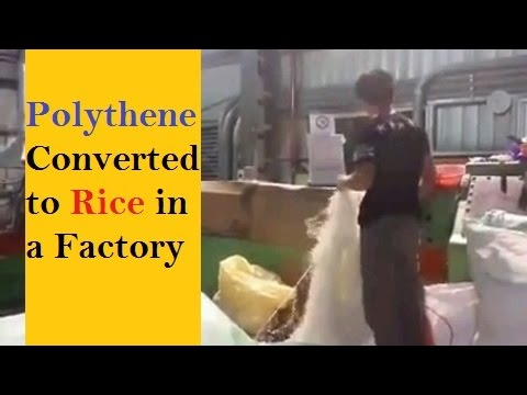 Factory where Rice made from Plastic Bags(Polythene) - Must Watch video!!!