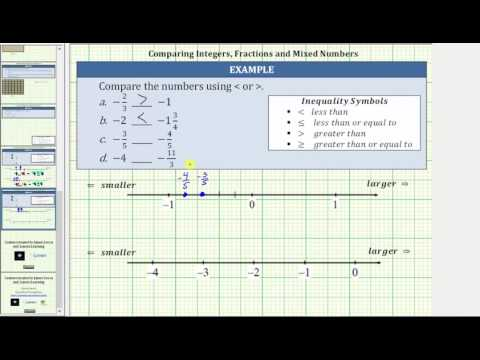 Compare Integers, Fractions, and Mixed Numbers (Number Line and Common Denom)