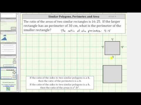 Similar Polygons: Find Missing Perimeter Given the Ratio of Areas (CC:6.G.1)