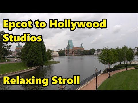 Epcot to Hollywood Studios - Relaxing Stroll in 4K (Part 1)