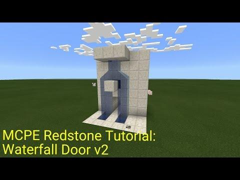 Minecraft Pocket Edition Redstone Tutorial: Waterfall Door v2 (MCPE 1.0.5)