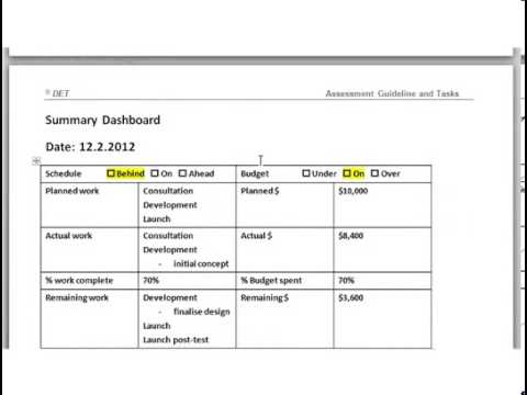 Filling in the Progress Report Template