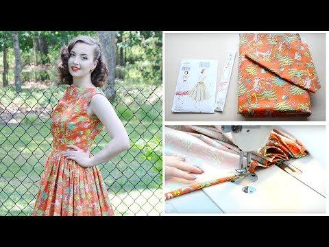 1950's Monkey Dress ☆ Project Vlog and Pattern Review // Vouge V8789