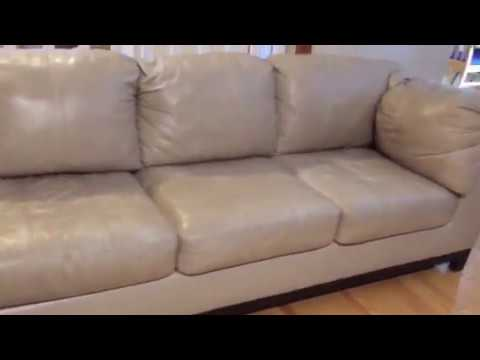 Beige Leather Sectional