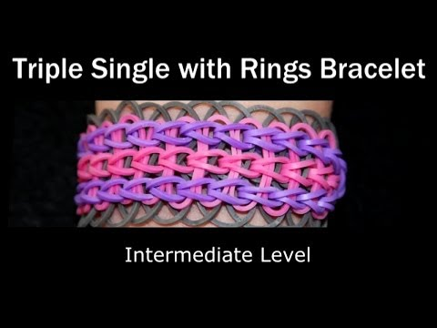How to make a Rubber Band Triple Single With Rings Bracelet - Medium Level